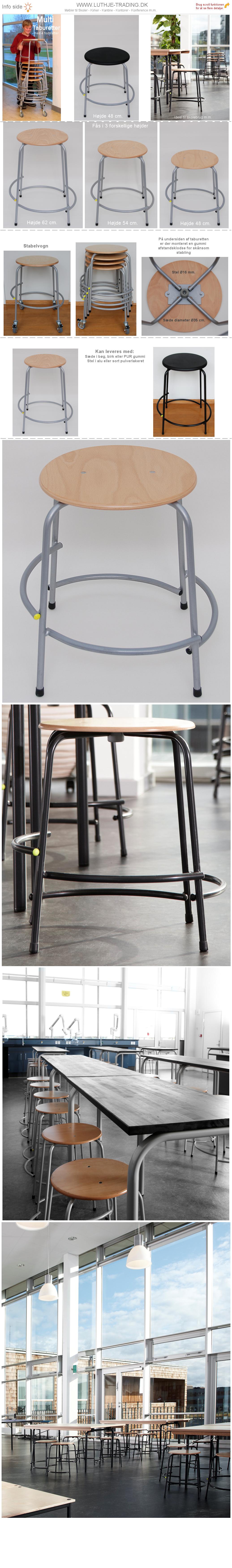 Multi med PUR sæde. Højde 48 cm.